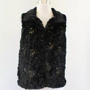 NWT Betsey Johnson Plush Faux Fur Sequin Vest